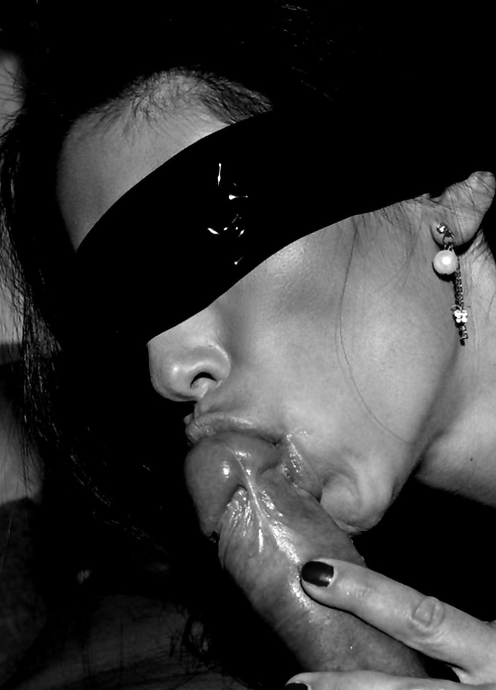Черно белое порно минета в домашнем исполнении