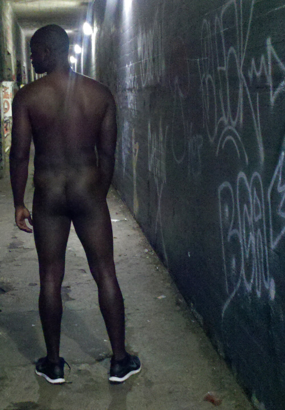 Honor black man completely naked