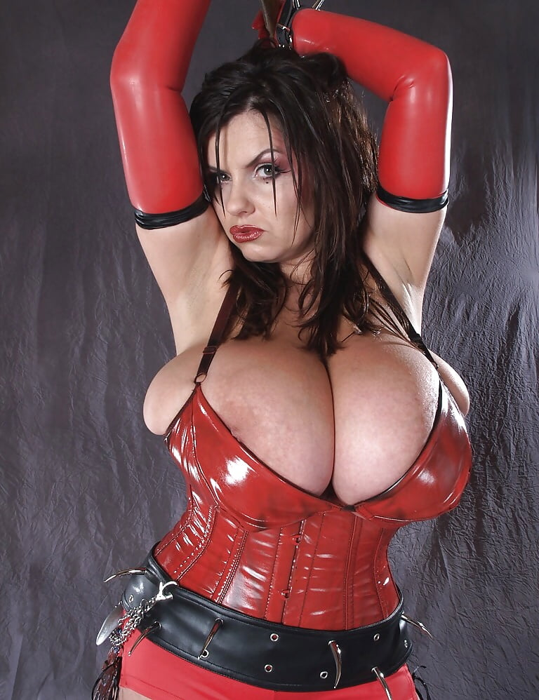 Big tits latex lingerie