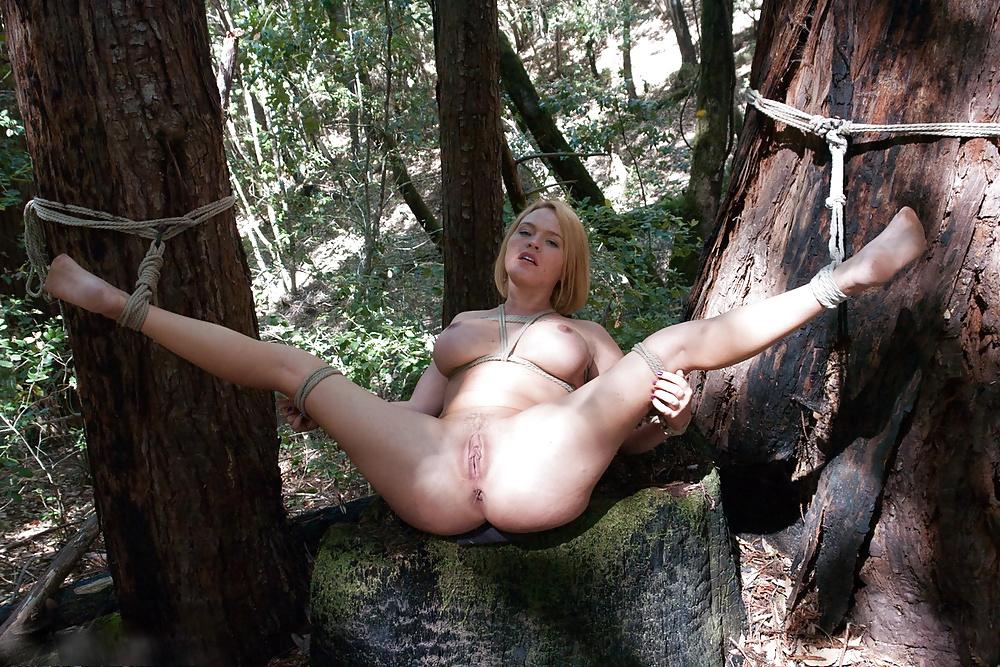 Привязали ее к дереву и трахают лижет