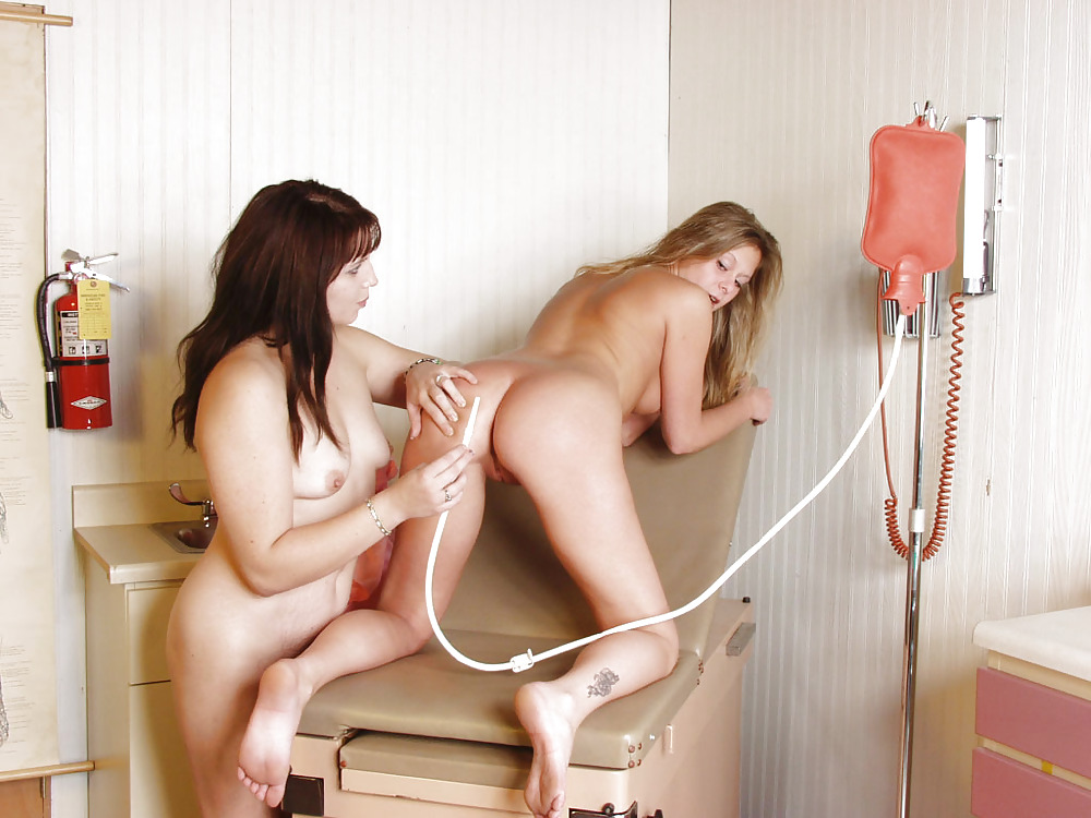 Lesbian nurses with enema