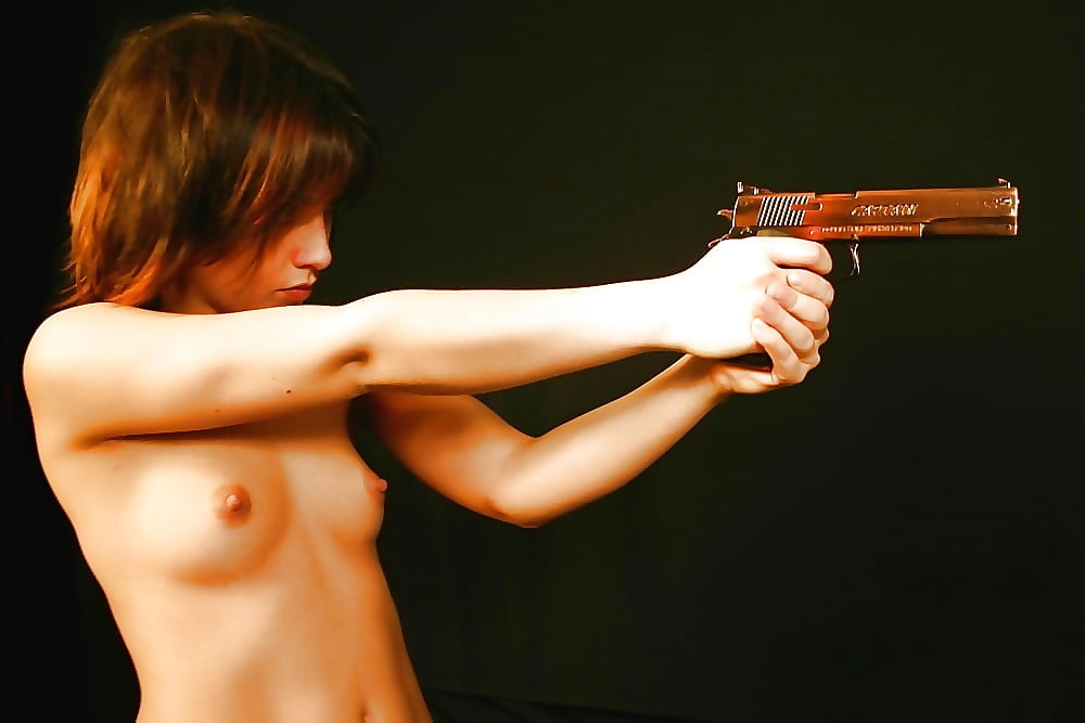 Nude girl with gun in mouth — img 9