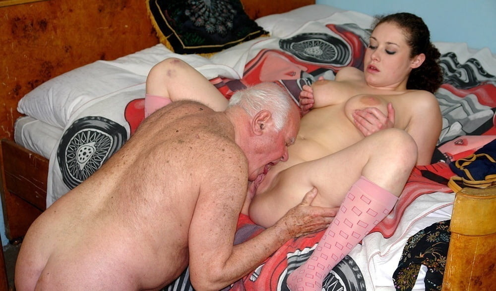 A man fucks an old woman and cums inside a pussy