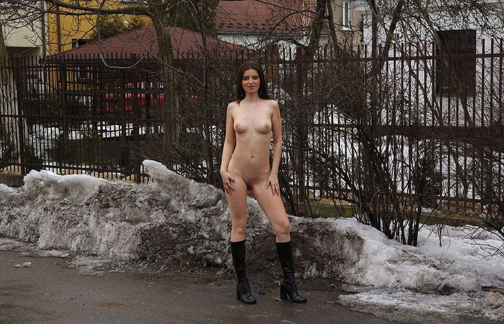 Petite Teen Girl Lola F Strips Naked On Snow Covered Path Next To The Woods