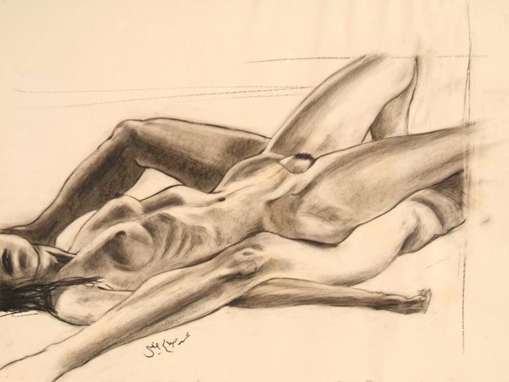 Stickypen drawings of nude homosexuals