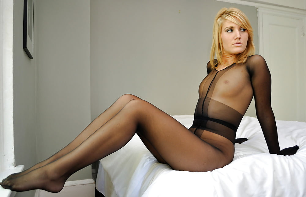 Hot Wearing Black Pantyhose Tights Nylons Sexy Nightgown Bare Legs High Heels