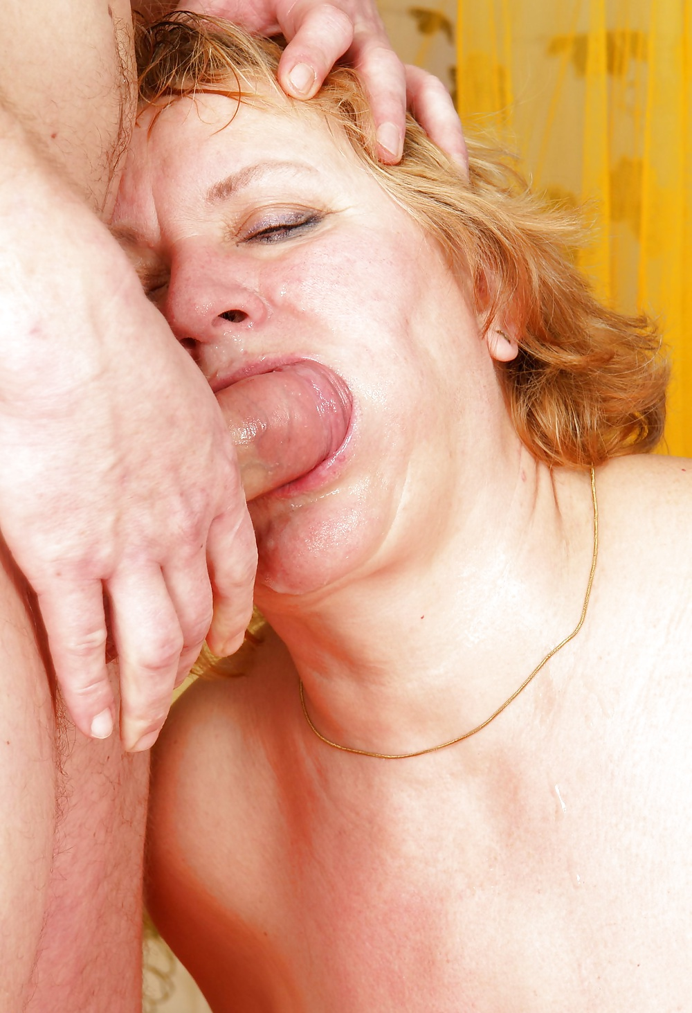 Submissive granny face fucked and anally dominated pov style