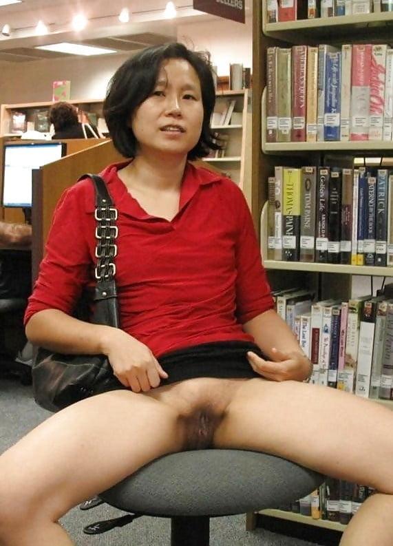 Mature asian public flash