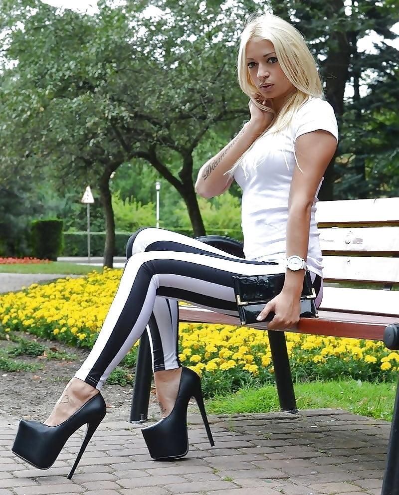 Black platform high heels-2133