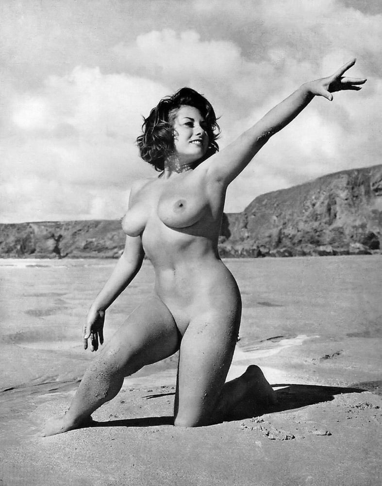 Two sultry nude women vintage pin up photo