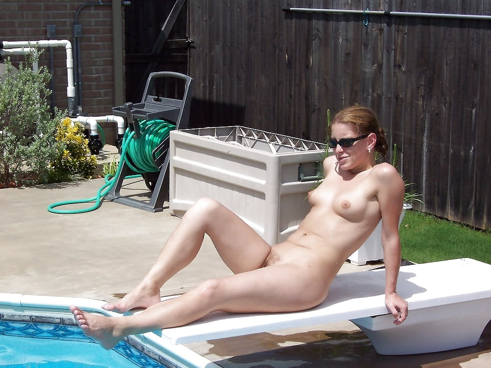 Hot woman is using her neighbor's pool photos