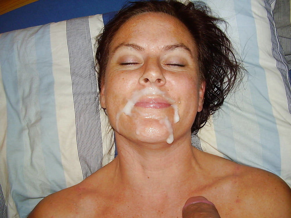 Hot cum on my wife's face