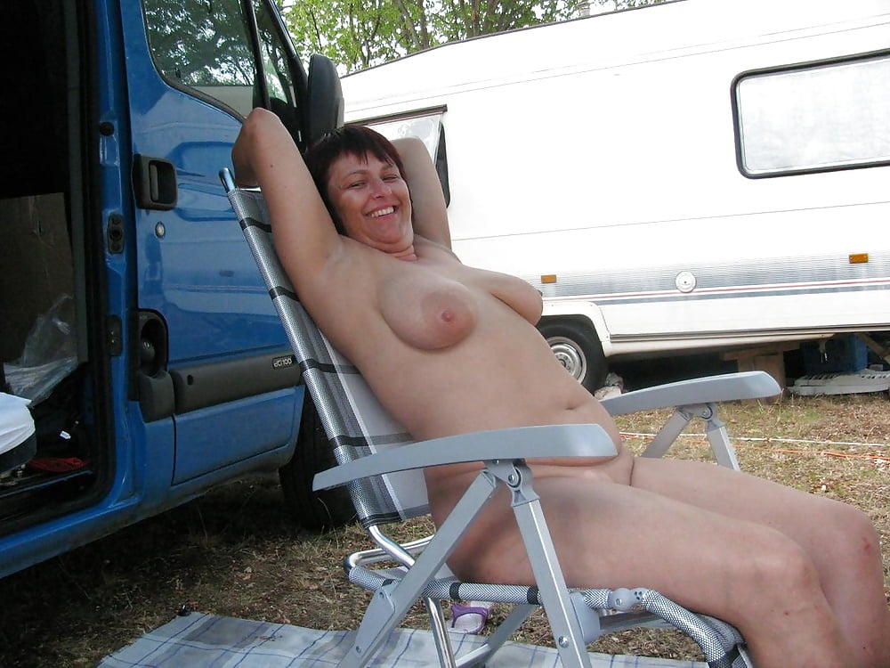 Wife milf in camping trailer masterbating