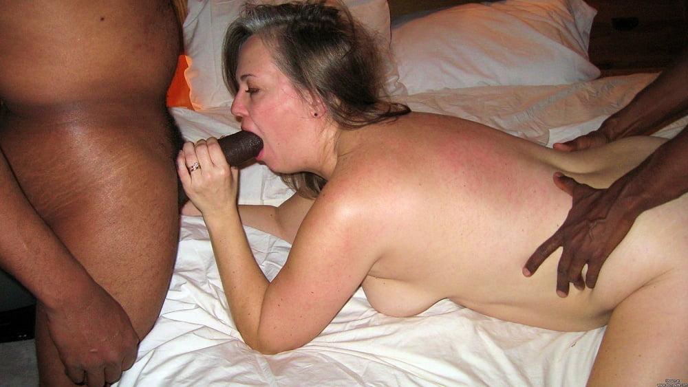 White wife sucks black dick