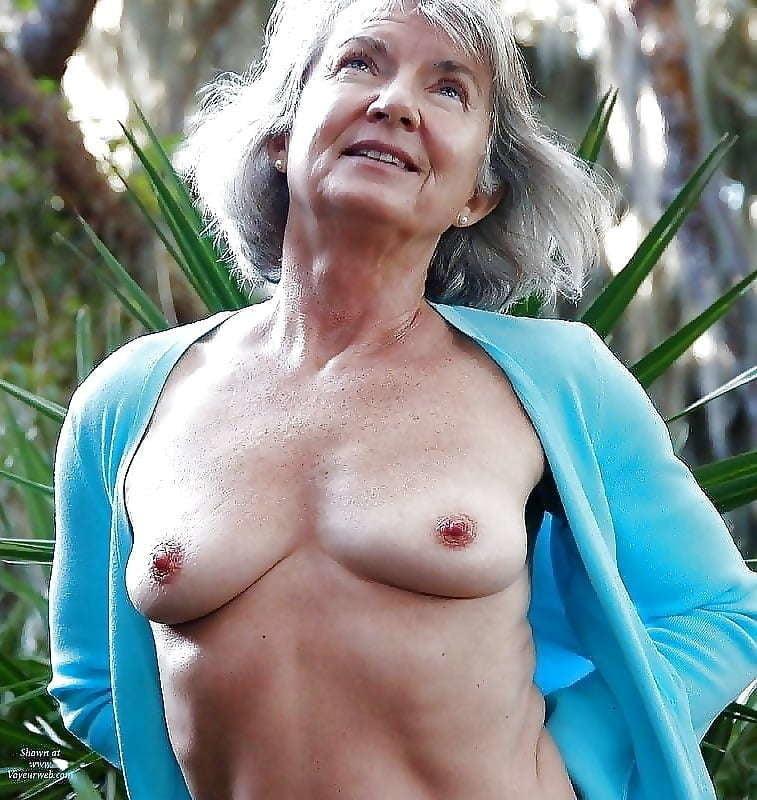 Grandma small tits topless