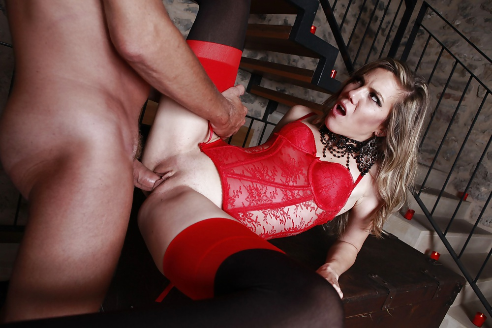 White Lingerie Busty Blonde Gets Fucked On Red Leather Couch Hustler 1