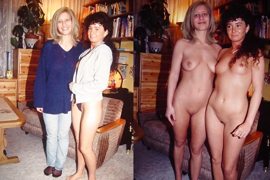 Nudist mom walking around house