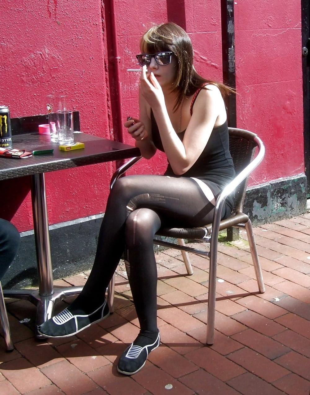 Pantyhose hot smoking