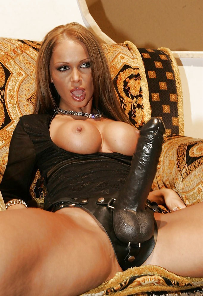 Big tits brunette lesbian domme with huge strap on cock fucks mouth to big tits redhead sub