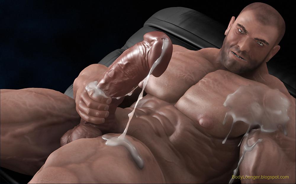 Hot muscular stud jerking off big load
