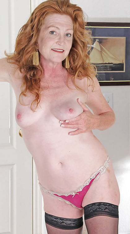 Redhead small tit granny