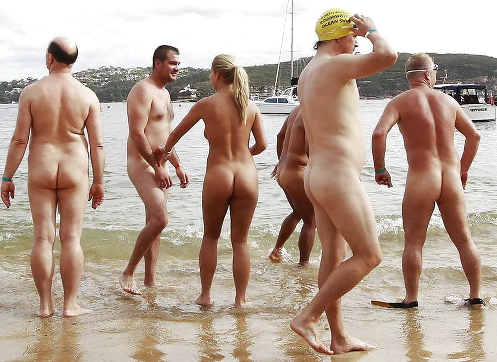Nude people on beach
