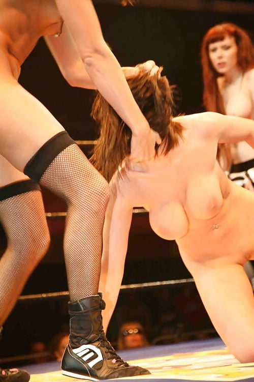 Naked women wrestling men