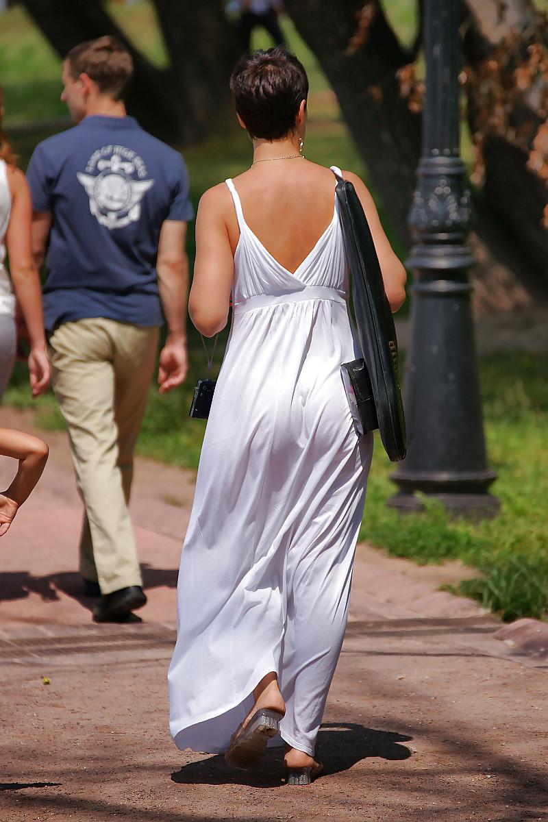 Milf's Thong In Long See Through Dress