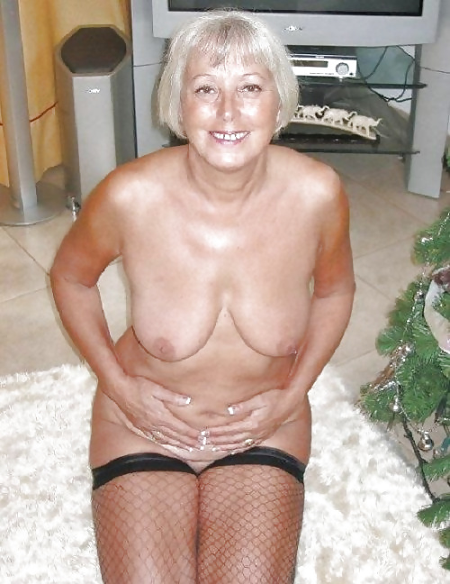 granny white in hair grey lingerie sexy