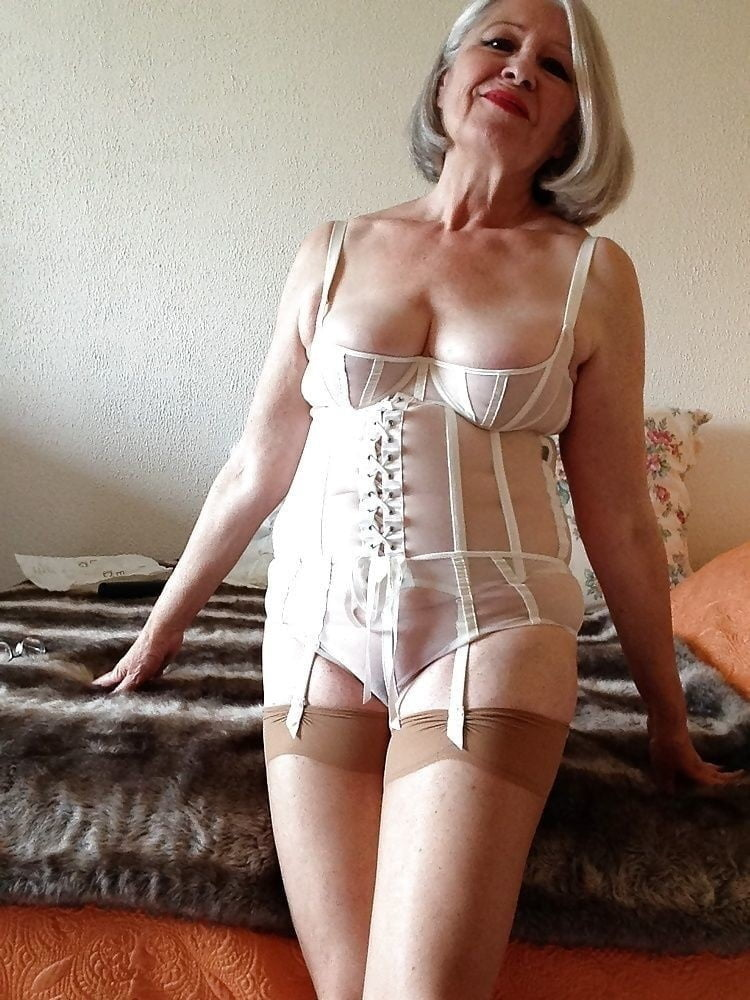 Sexy older woman in lingerie