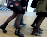 Beauty Legs With Black Stockings (2 teens) candid pantyhose