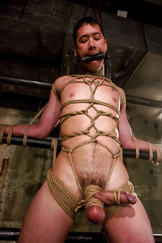 Male male male bondage chains rope captivity