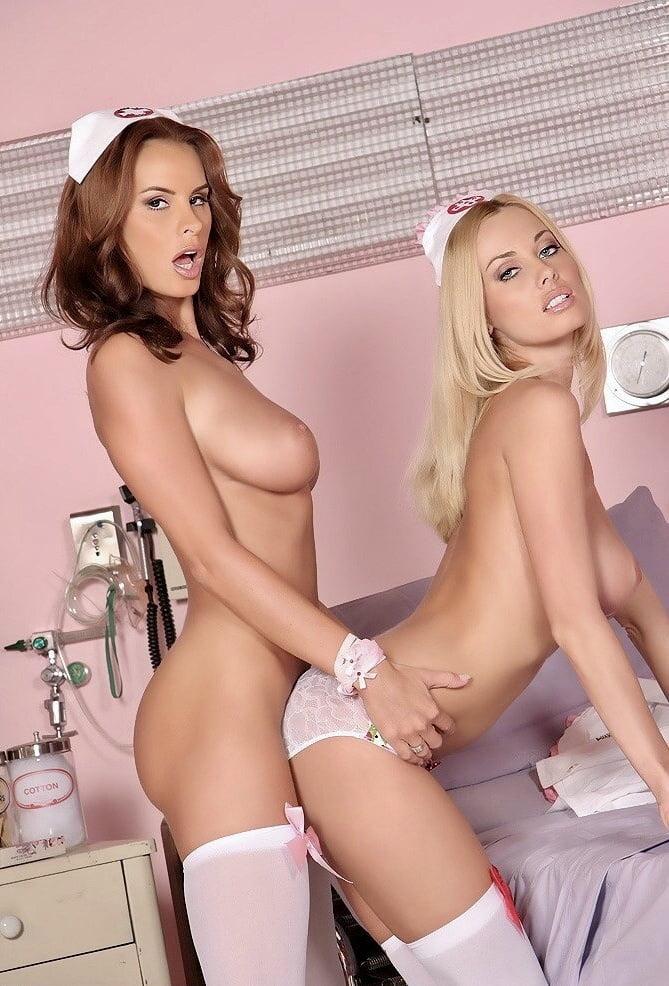 Brunette nurse examined naked lesbian patient