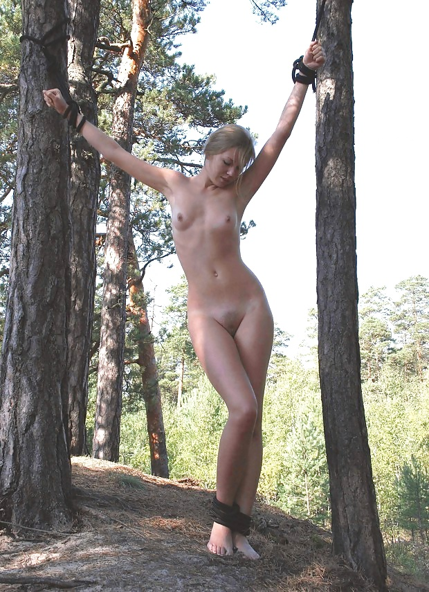 Bondage in outdoors woman