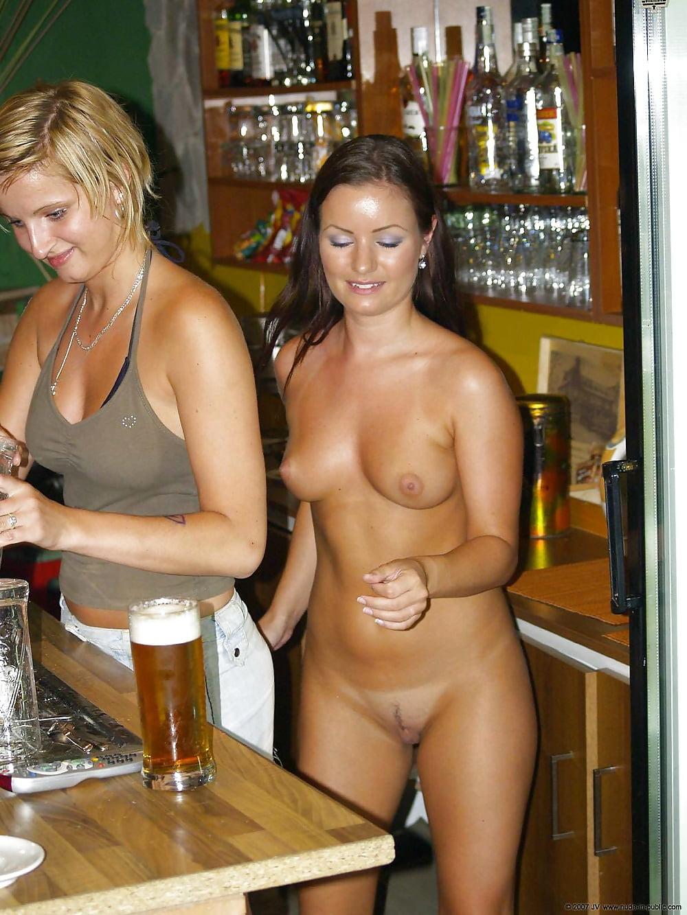 Sexy female bartender nude