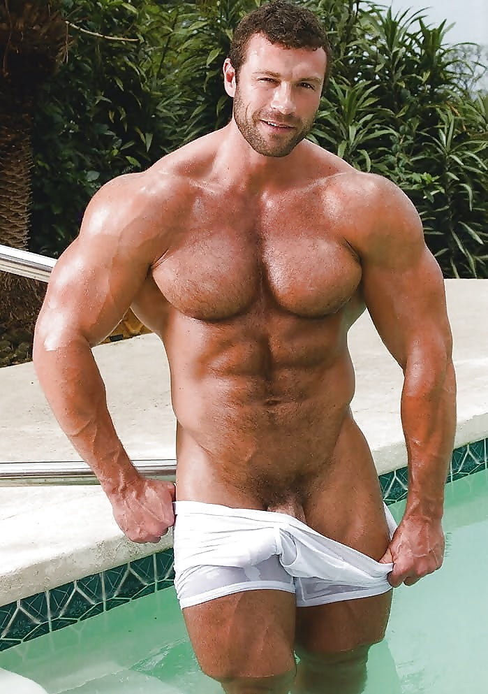 Hairy muscular hunk naked, cum on hairy