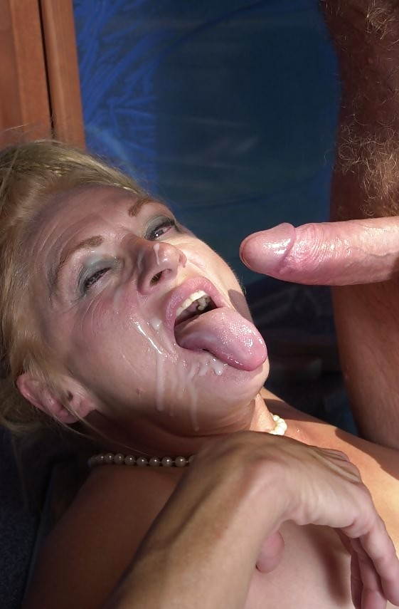Blonde granny face fucked and sodomized by younger man