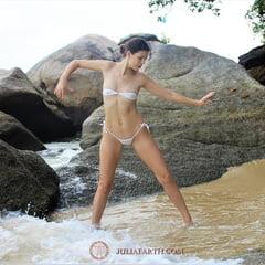 Part 2. Julia V Earth In White Bikini At The Beach.