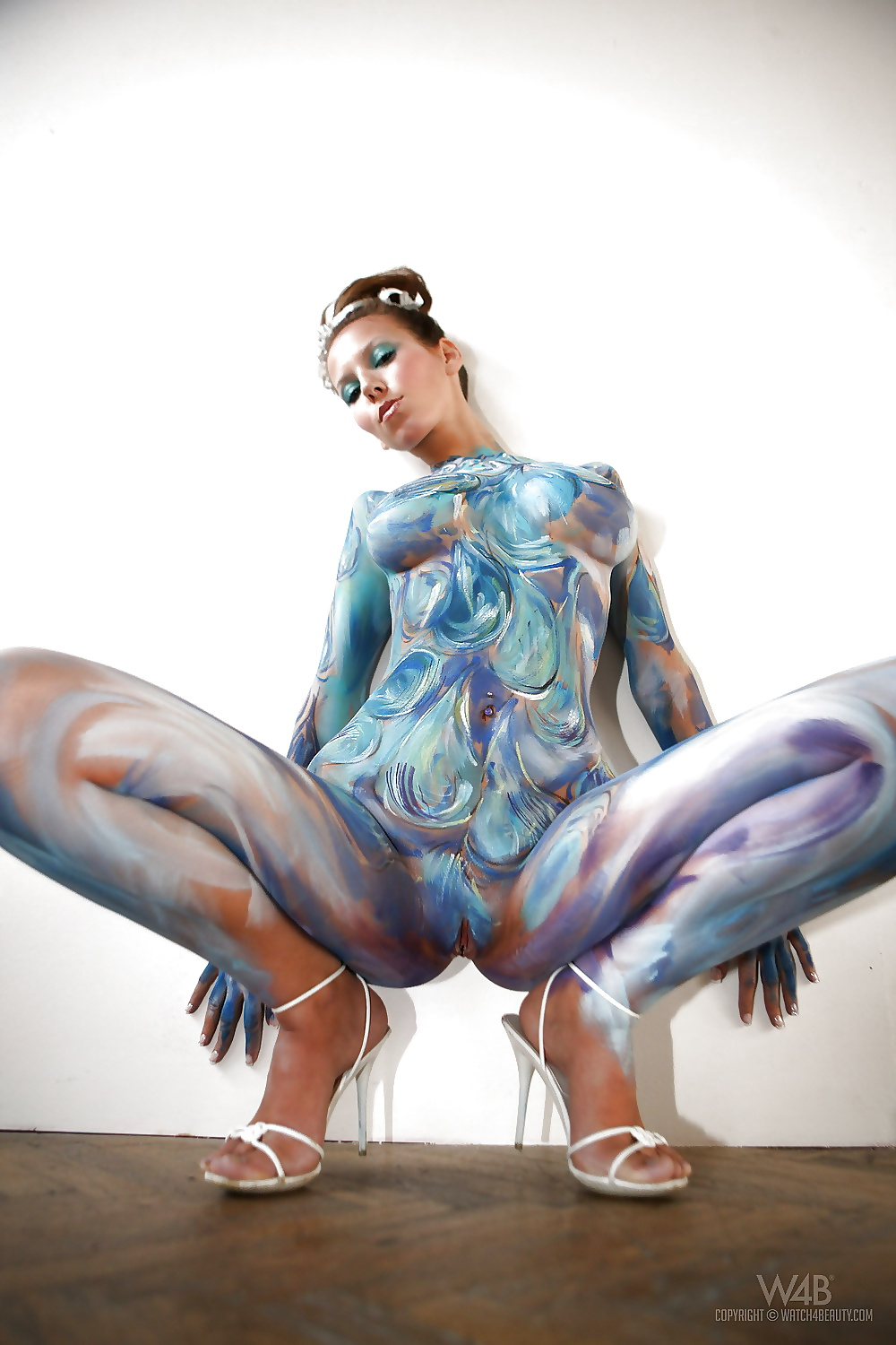 Fat girl nude body painting #1