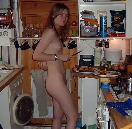 nude woman doing house work