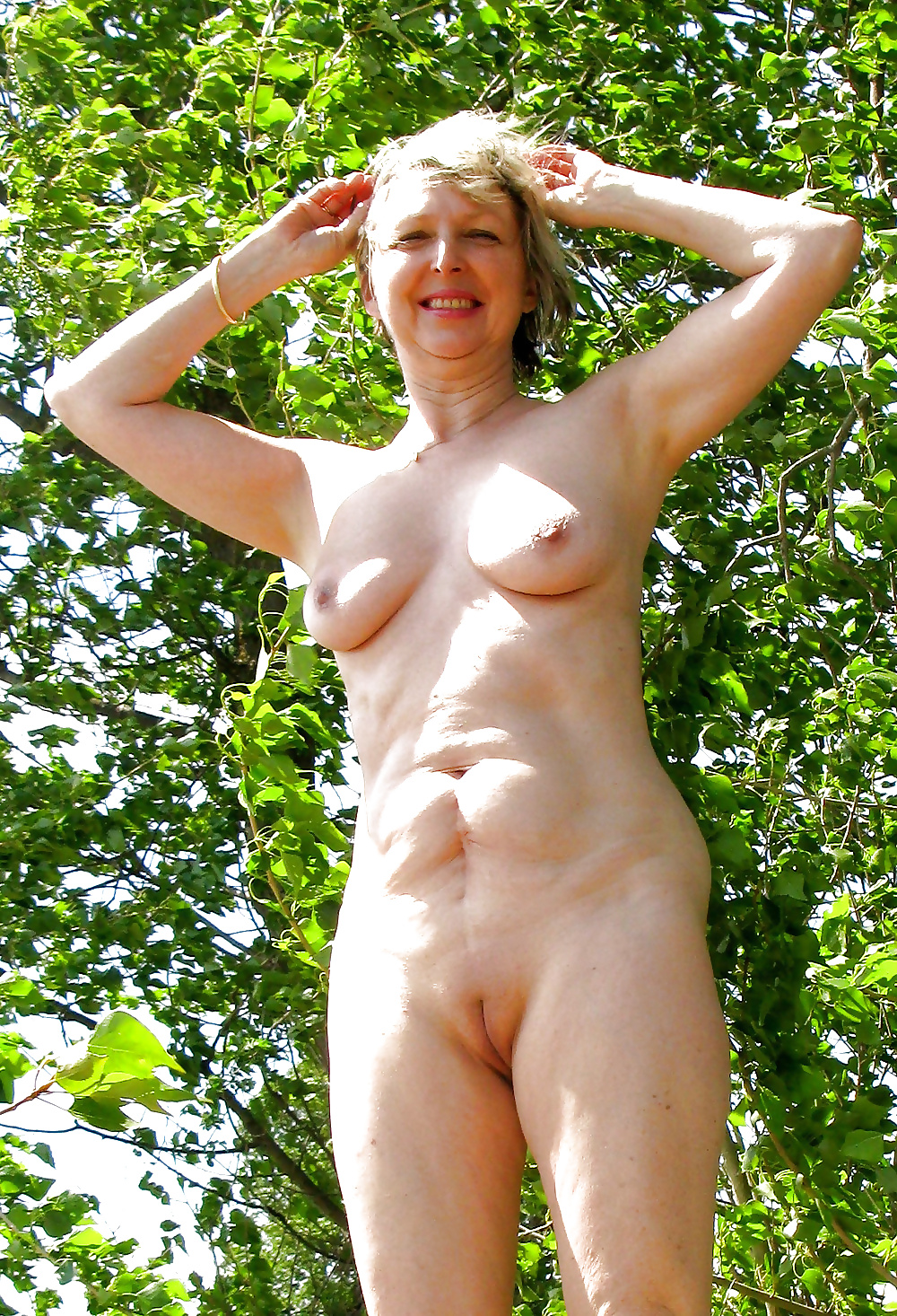 Naked mom in nature