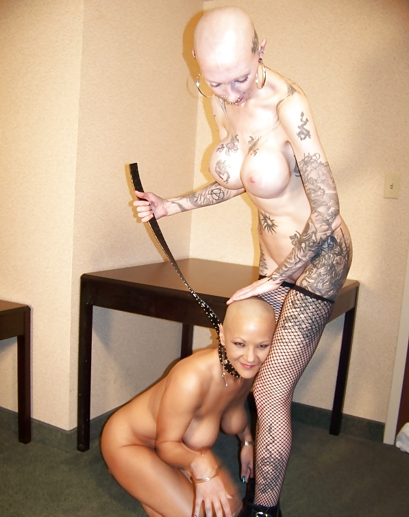 Female head naked shaving