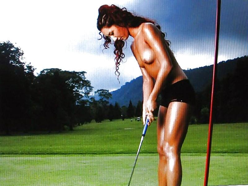 Nude women playing golf