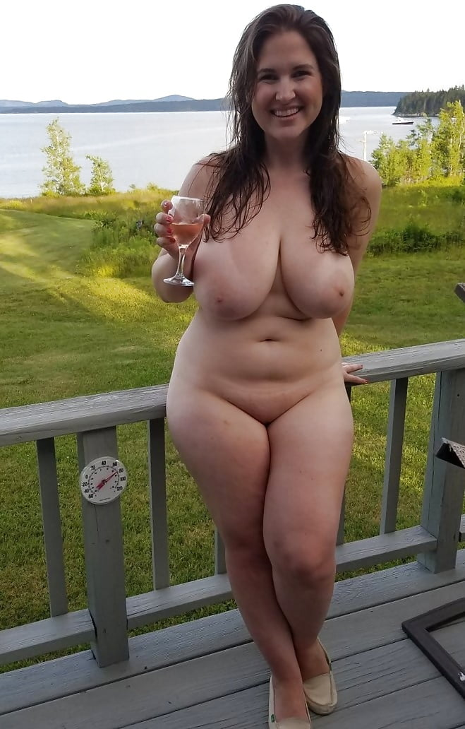 Embarrassed mature woman naked