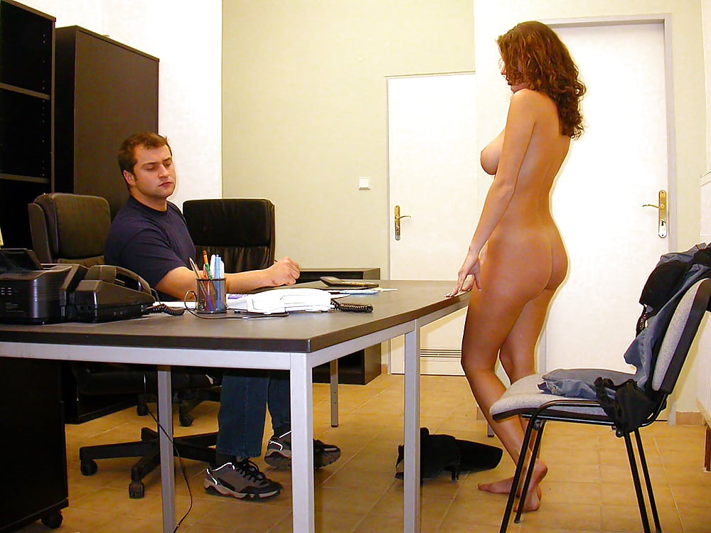 Girls stripping nude in office, spank over body stocking