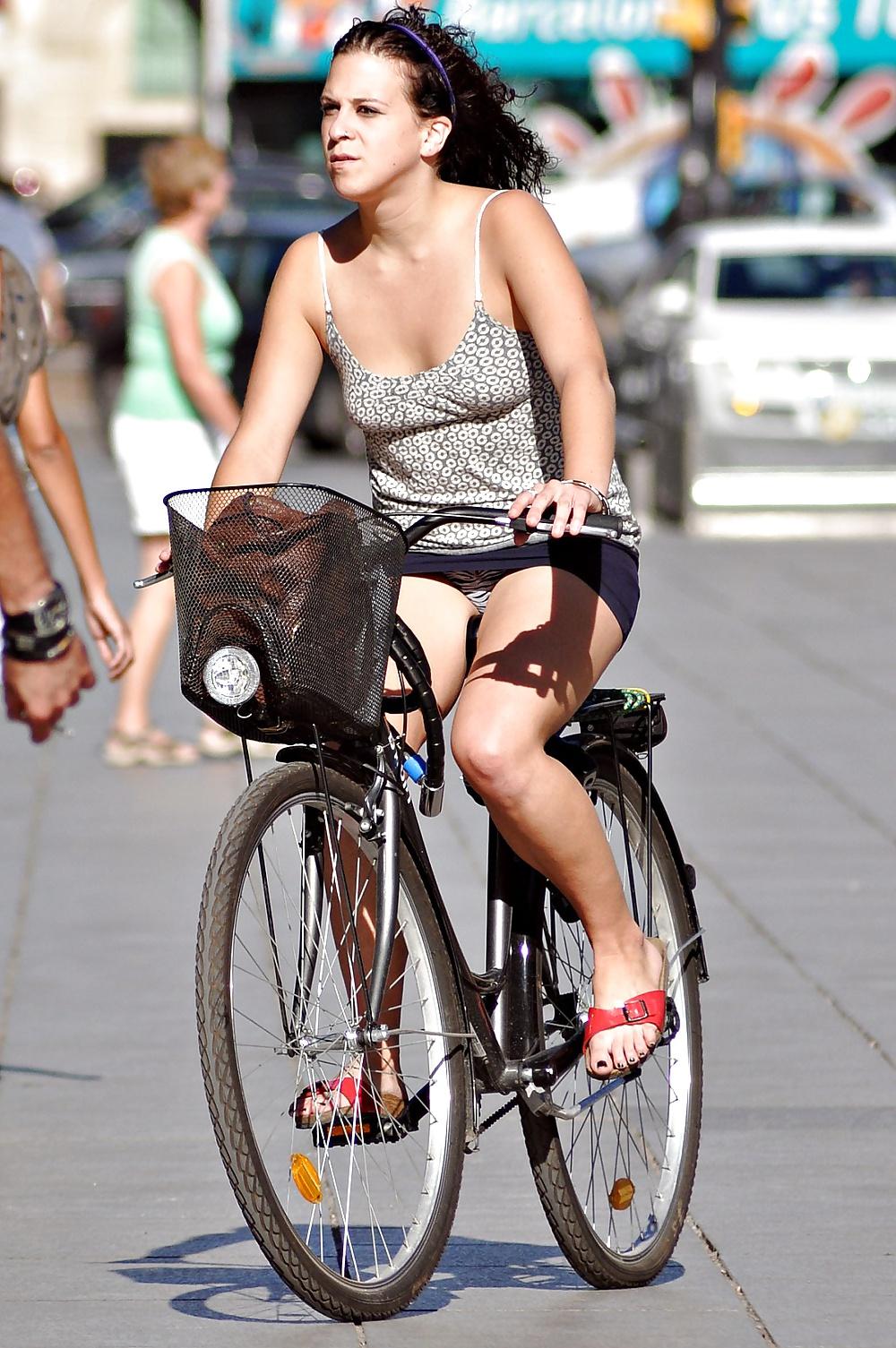 Close up outdoor posing featuring teen babe zuzana g on a bike