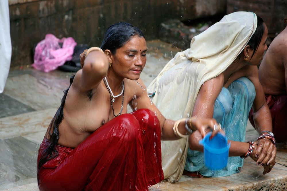 Indian Village Girls Bathing