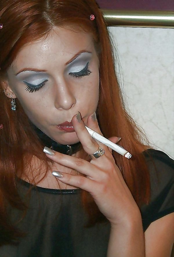 Sexy Redhead Smoking Image Photo