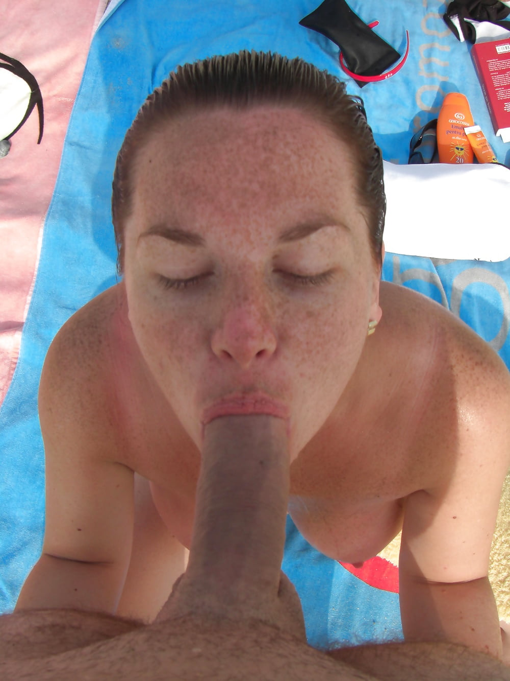 Topless beach blow job get