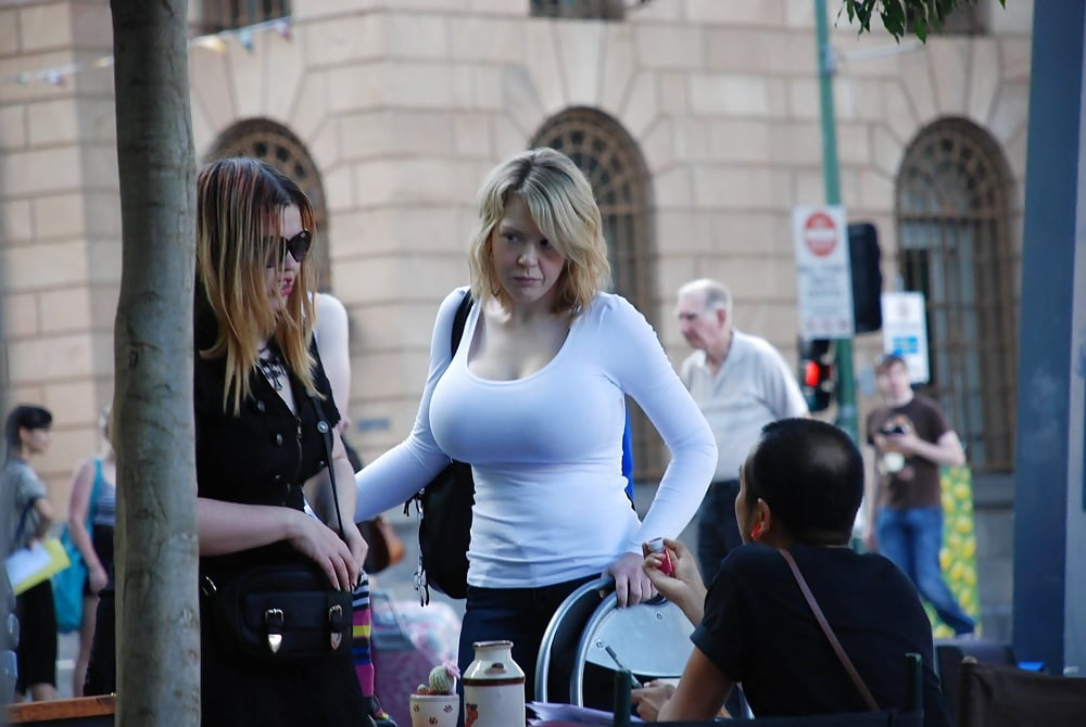 Busty voyeur street
